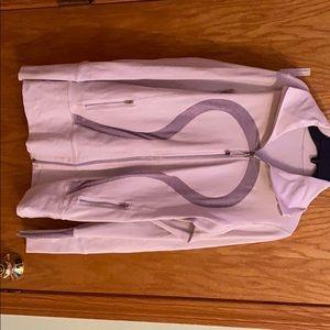 White and grey lulu lemon zip up jacket no hood